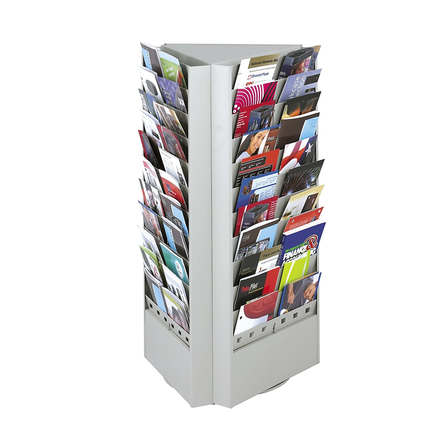 Steel Rotary Brochure Rack, 33 Compartments, 17-1/4w x 15d x 30-1/4h, Gray, Sold as 1 Each