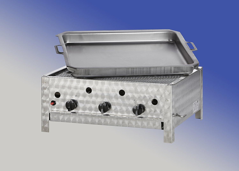Gasgrill//Gastrobr/äter 3-flammig mit Pfanne f/ür ERDGAS