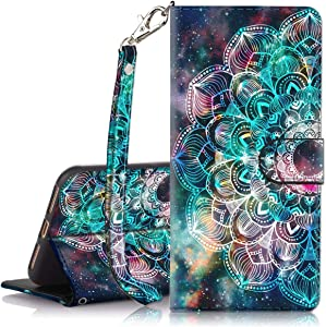 Hocase iPhone 8 Plus Case, iPhone 7 Plus Case, PU Leather Full Body Protective Case with Credit Card Holders, Wrist Strap, Magnetic Closure for iPhone 8 Plus/iPhone 7 Plus - Mandala in Galaxy