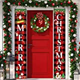 DmHirmg Christmas Porch Banner,Porch Christmas Decorations, Merry Christmas Banner, Christmas Porch Sign,Christmas Hanging Po