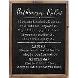 Wartter Rustic Bathroom Rules Sign,Farmhouse Toilet Wall Decor,Funny Bathroom Wood Framed Wall Art Decorations(11.8x15.8in) (
