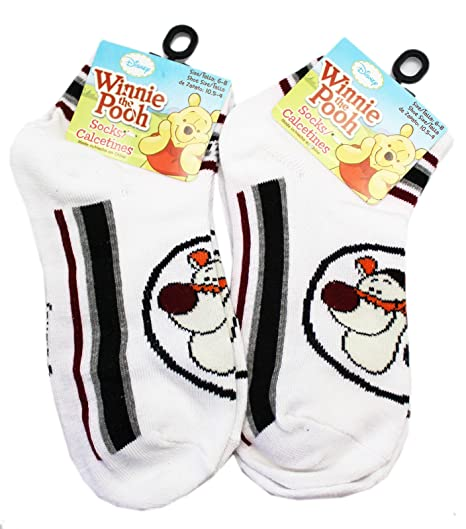 Disneys Winnie the Pooh Tigger Face White Sock Set (2 Pairs, Size 10.5 -