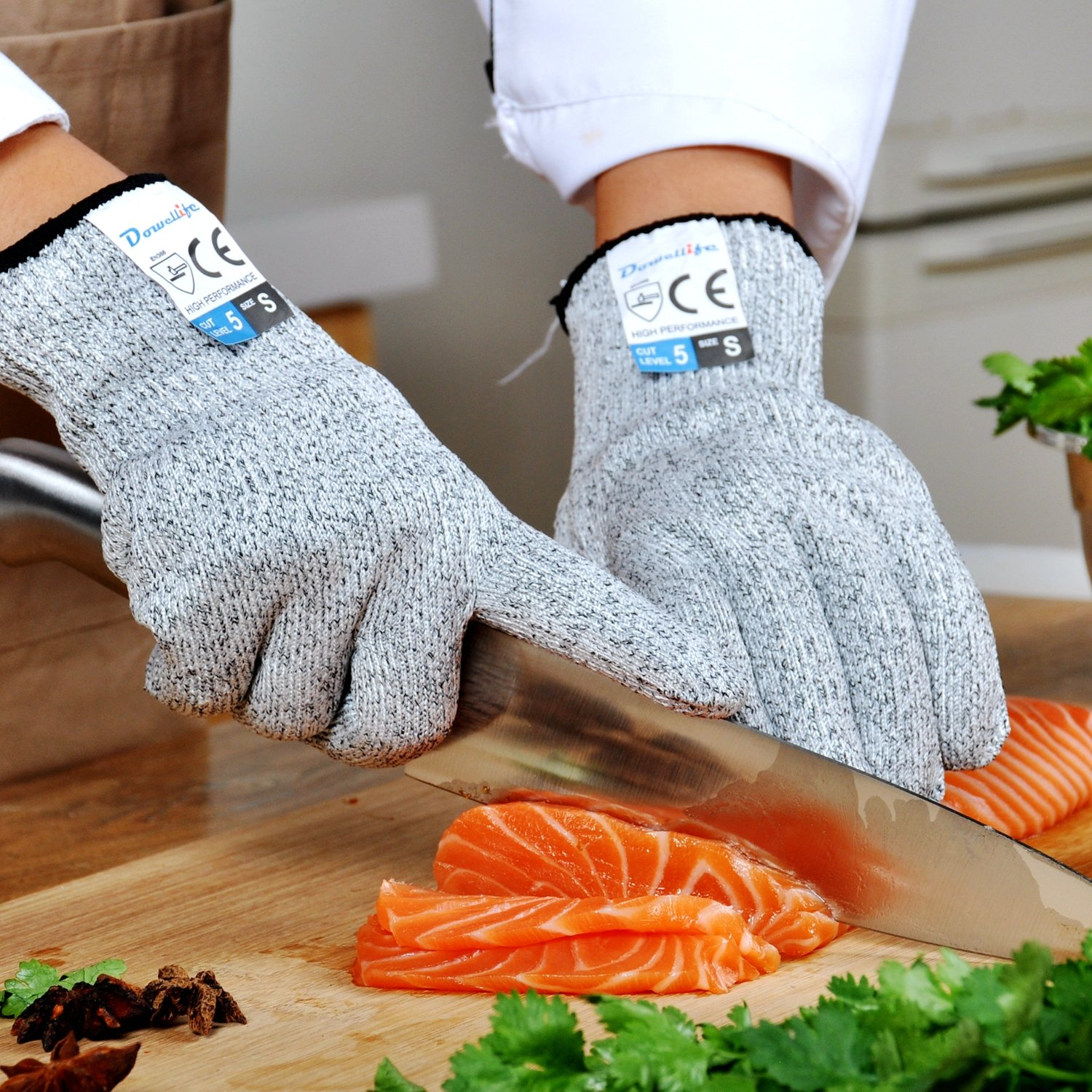 Dowellife Cut Resistant Gloves Food Grade Level 5 Protection, Safety ...
