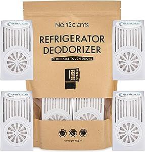 Refrigerator Deodorizer - Fridge and Freezer Odor Eliminator - Outperforms Baking Soda (4-Pack)
