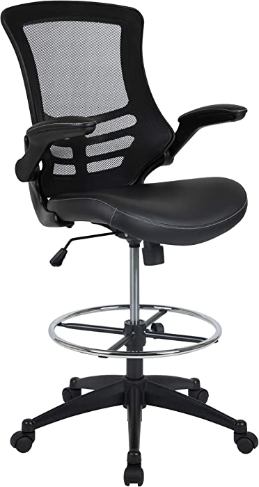 Flash Furniture Mid-Back Black Mesh Ergonomic Drafting Chair with LeatherSoft Seat, Adjustable Foot Ring and Flip-Up Arms