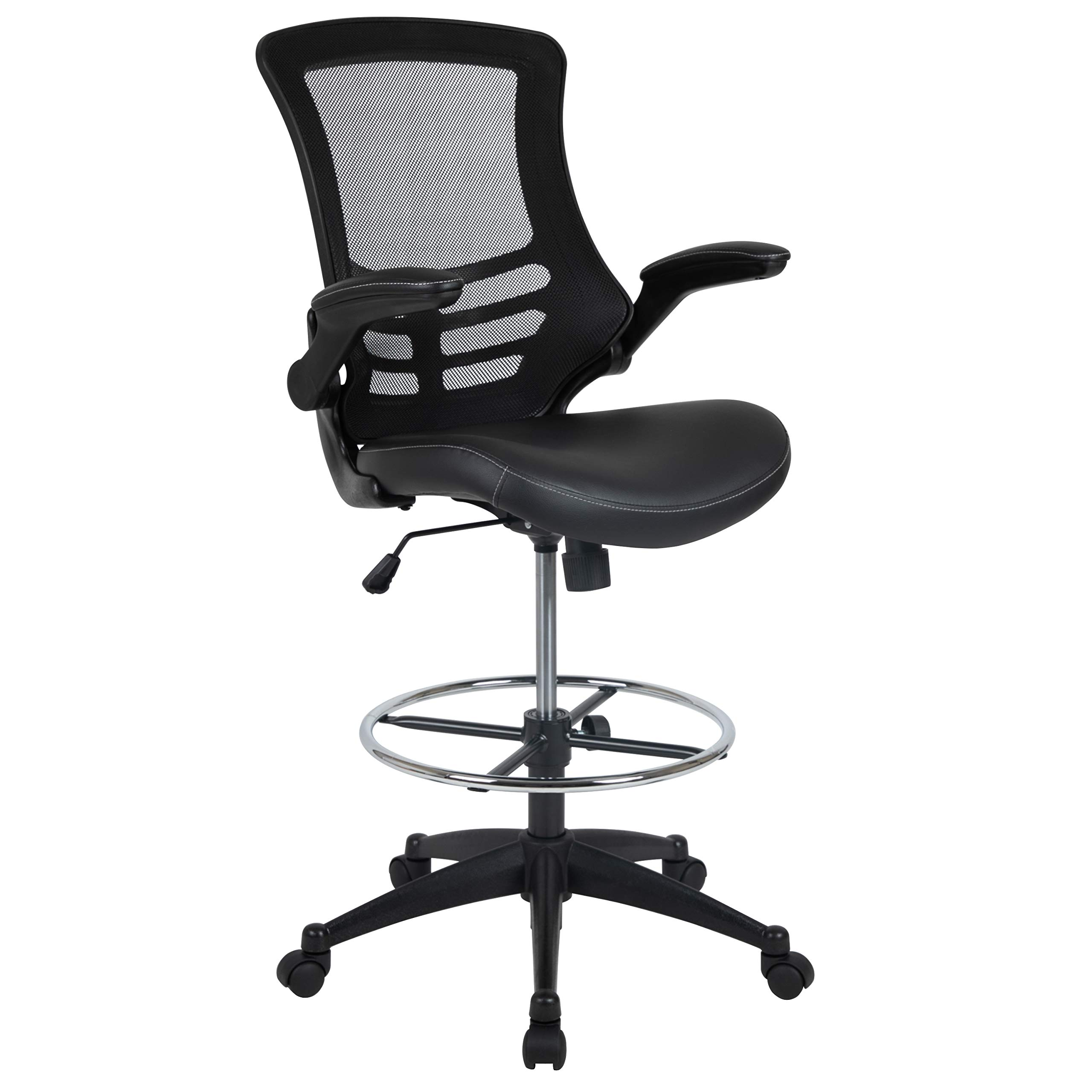 Flash Furniture Mid-Back Black Mesh Ergonomic Drafting Chair with LeatherSoft Seat, Adjustable Foot Ring and Flip-Up Arms by Flash Furniture