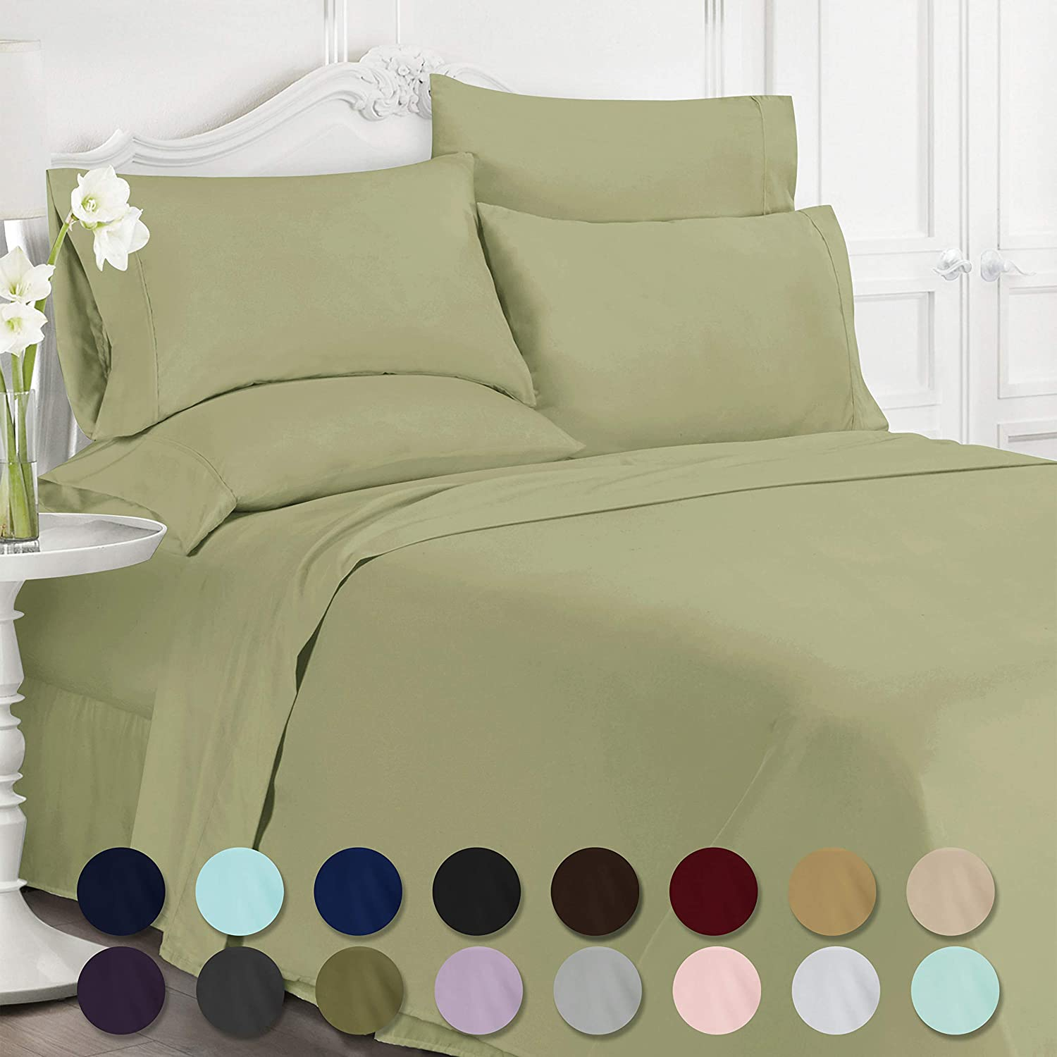 Swift Home Luxury Bedding Collection, Ultra-Soft Brushed Microfiber 6-Piece Bed Sheet Sets, Extremely Durable - Easy Fit - Wrinkle Resistant - (Includes 2 Bonus Pillowcases), Queen, Sage