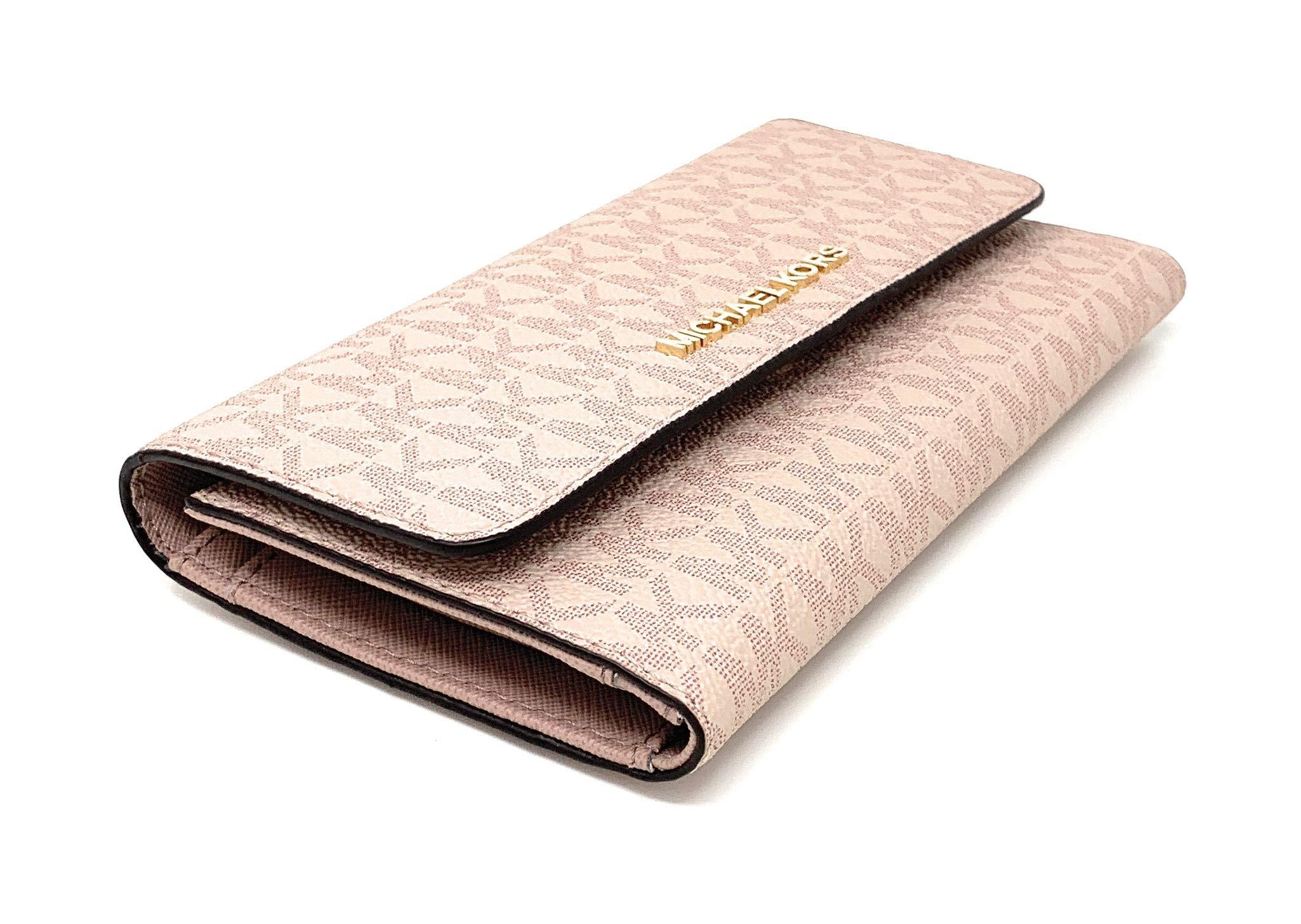 Michael Kors Jet Set Travel Large Trifold Signature PVC Wallet (Fawn/Ballet) by Michael Kors (Image #3)