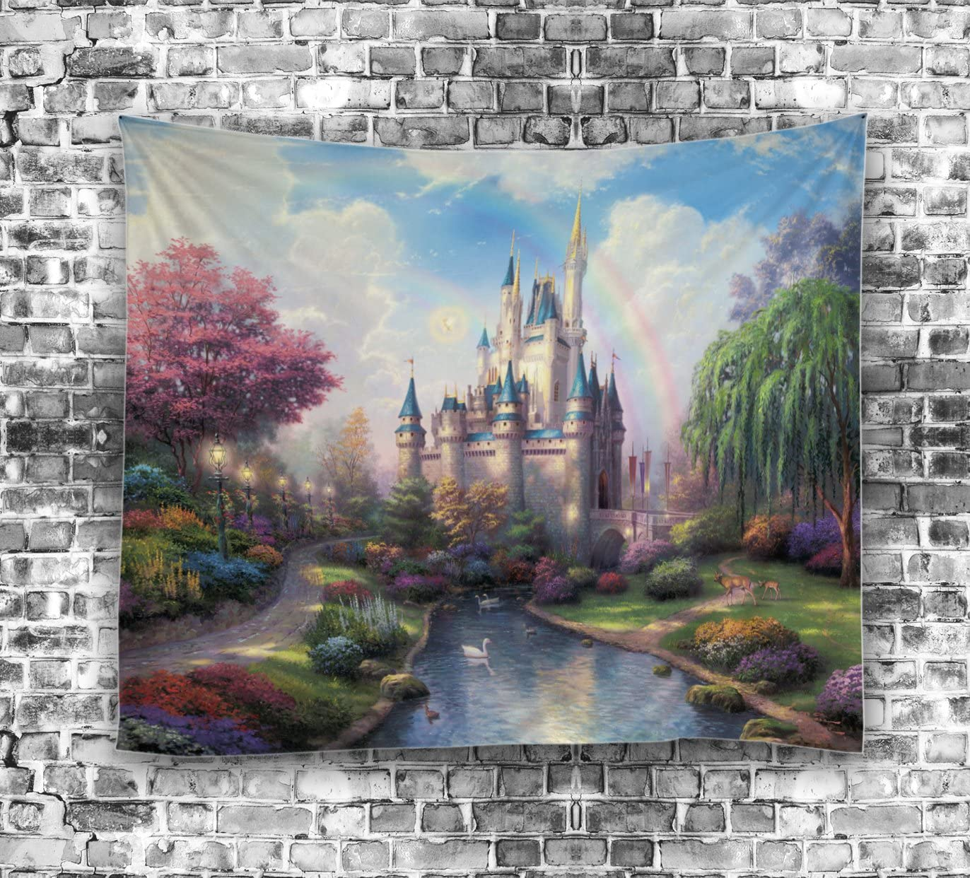 Izielad Cartoon Castle Tree River Fairy Tale Wall Hanging Tapestries for Children Kid