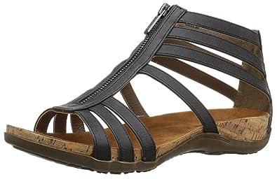 BEARPAW Women's Layla Heeled Sandal, Black, ...