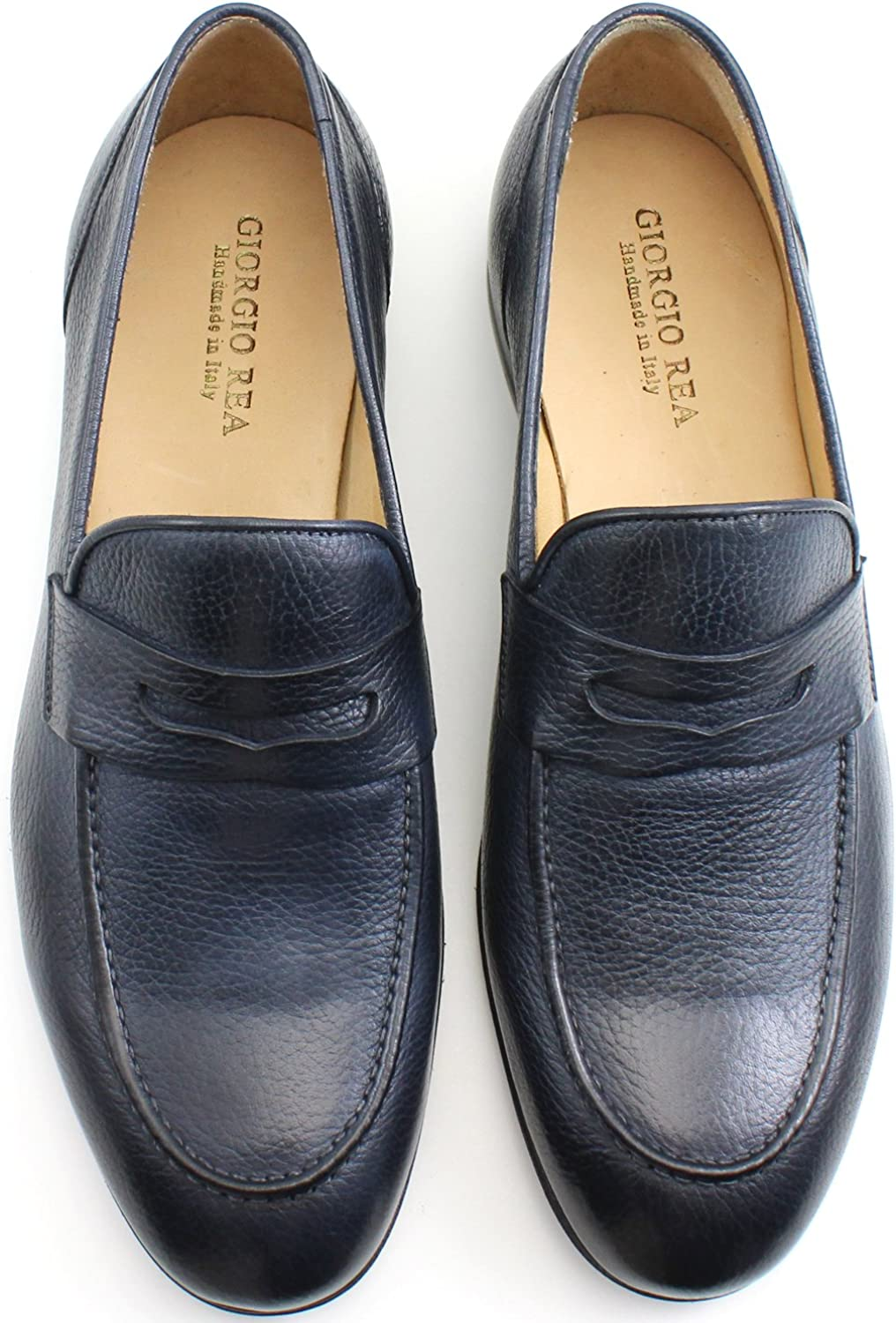 Giorgio Rea Italian Handmade Navy Blue Penny Loafers Mens Shoes Leather Mocassins