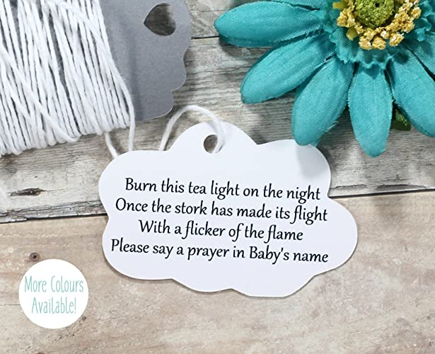 Amazon Com White Baby Shower Favor Tags Neutral Cloud Shaped