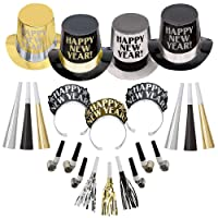 Party City Opulent Affair 2021 New Year's Eve Party Kit for 200 Guests, Includes Hats and Noisemakers