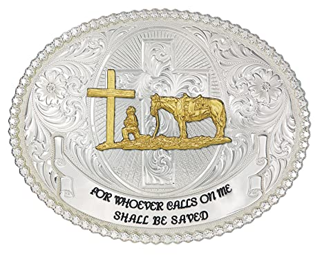 28adc7365 Montana Silversmith Faith and Wisdom Western Belt Buckle with Christian  Cowboy - 60889-731-