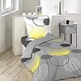 Loreto 144 TC 100% Cotton Single Bedsheet with 1 Pillow Cover - Grey, Lemon Yellow