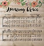 Amazing Grace Vintage Sheet Music Design 12 x 12 Wood Lath Wall Art Sign Plaque