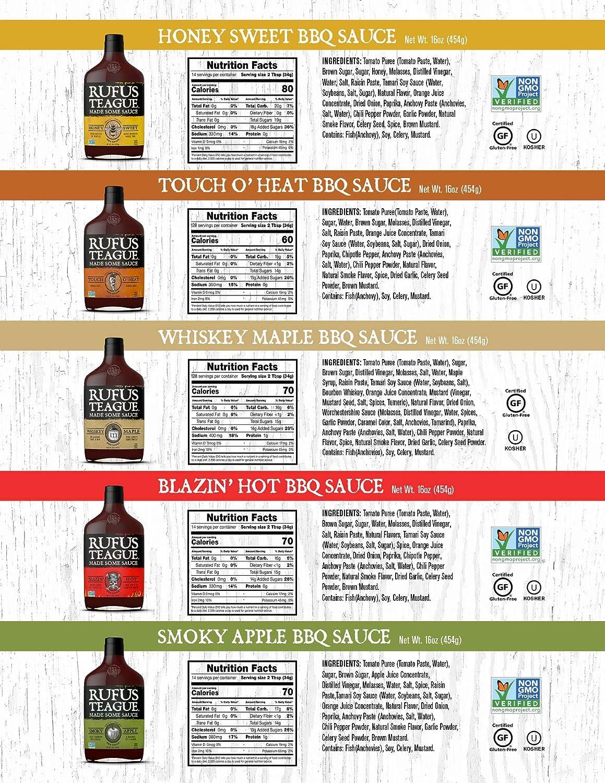 Rufus Teague: BBQ Sauce - 16oz Bottles - Premium BBQ Sauce - Natural Ingredients - Award Winning Flavors - Thick & Rich Sauce - Gluten-Free, Kosher, ...