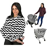 Baby Car Seat Cover Nursing Cover Breastfeeding Cover Scarf Baby Infant Multi use-Stroller Canopy, Shopping Cart, Swaddle, Hi-Chair. Soft Breathable Washable Boy Girl(Black Chevron)