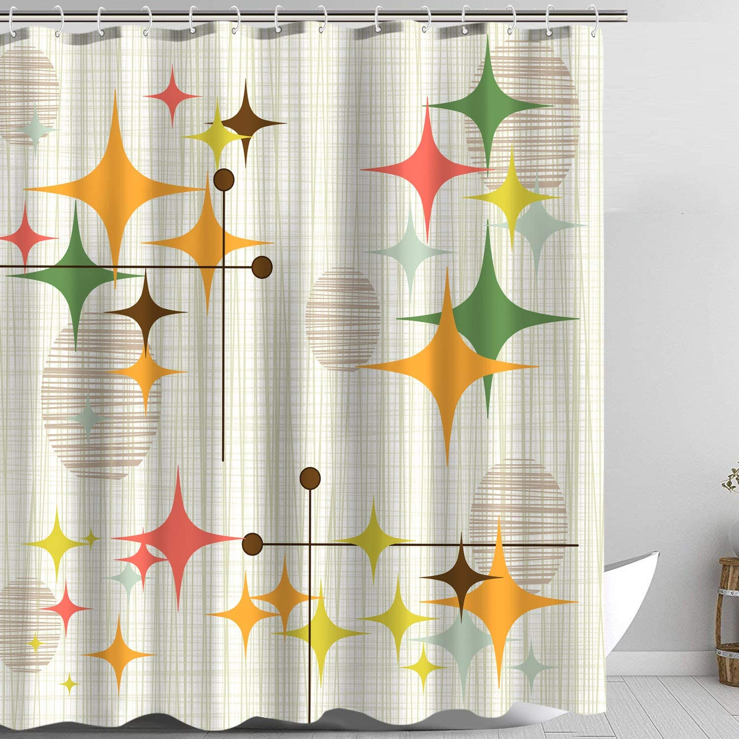 Zussun Stars Shower Curtain Set Bathroom Fabric Fall Curtains Waterproof Home Decor Bathroom Accessory Sets with 70inx69in Standard Size