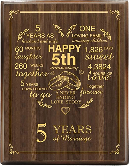 Amazon Com Yuzi N 5th Wedding Anniversary Engraved Gold Wood Plaque 5 Years Wedding Anniversary For Men For Women For Couple Home Kitchen