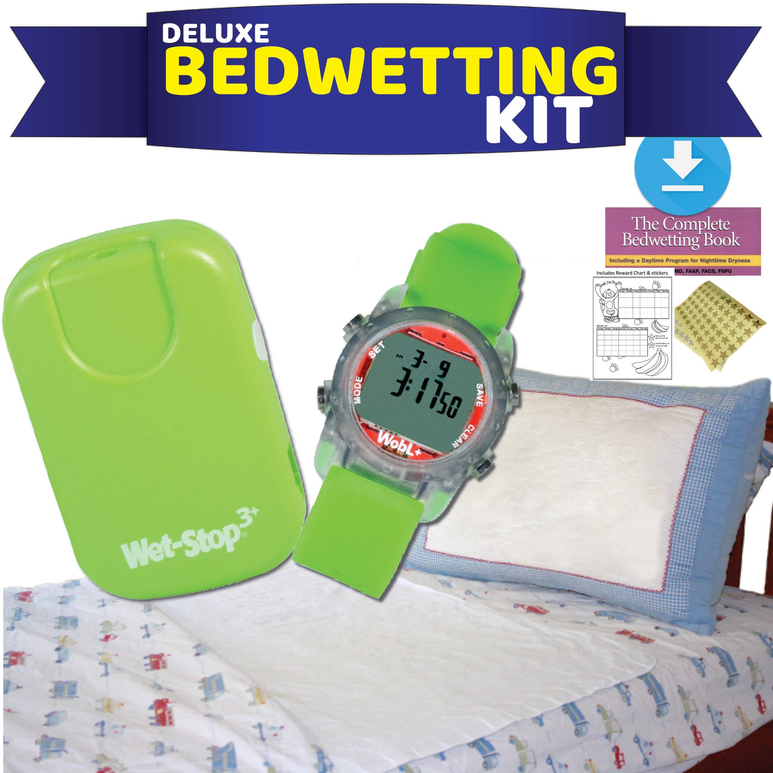Deluxe Bedwetting Kit-Wet Stop Bedwetting Alarm, WobL + Waterproof Watch, Waterproof Mattress Pad by Wet Stop