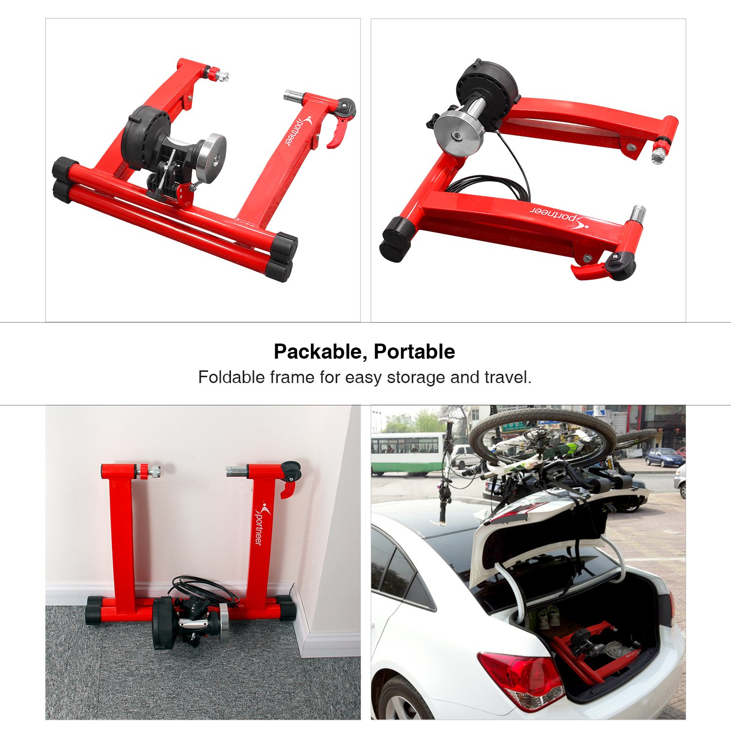 Sportneer Bike Trainer Stand Steel Bicycle Exercise Magnetic Stand with Noise Reduction Wheel, Red by Sportneer (Image #5)