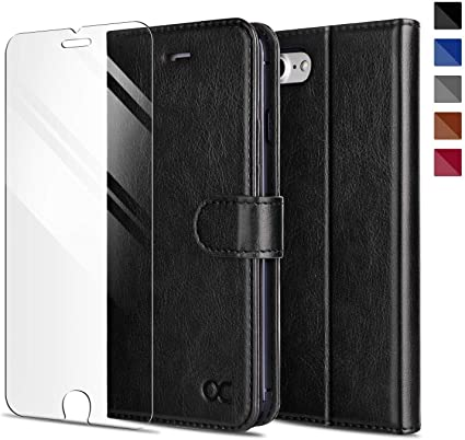 Card Slot Black 2020 TPU Shockproof Interior Protective Case OCASE Wallet Case Designed for iPhone SE 2020 Case//iPhone 8 Case //iPhone 8//7 Kickstand Leather Flip Phone Cover for iPhone SE