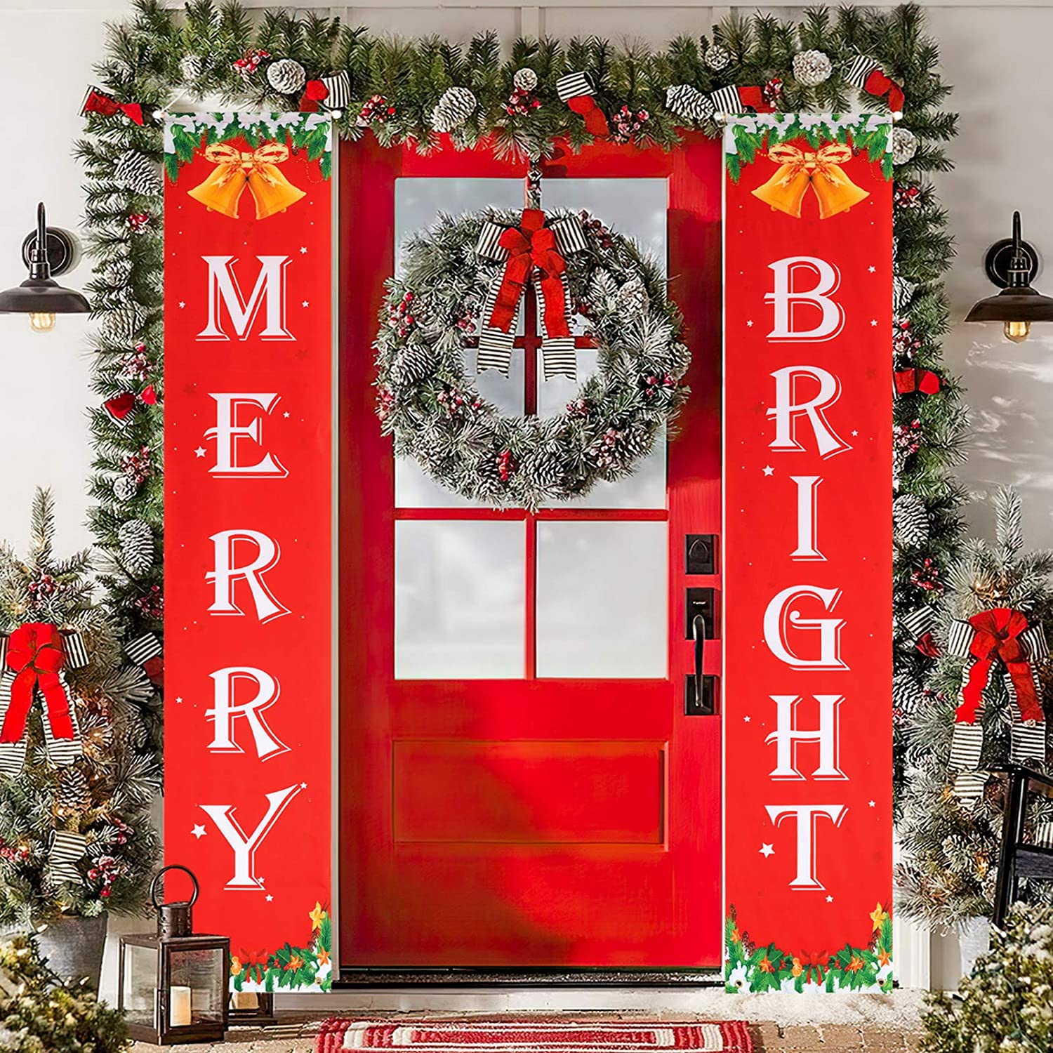 Merry Bright Banner, Welcome Home Banner for Christmas Decorations Indoor Outdoor, Christmas Front Porch Sign Decor, Garden Yard Home Window Wall Door Decor