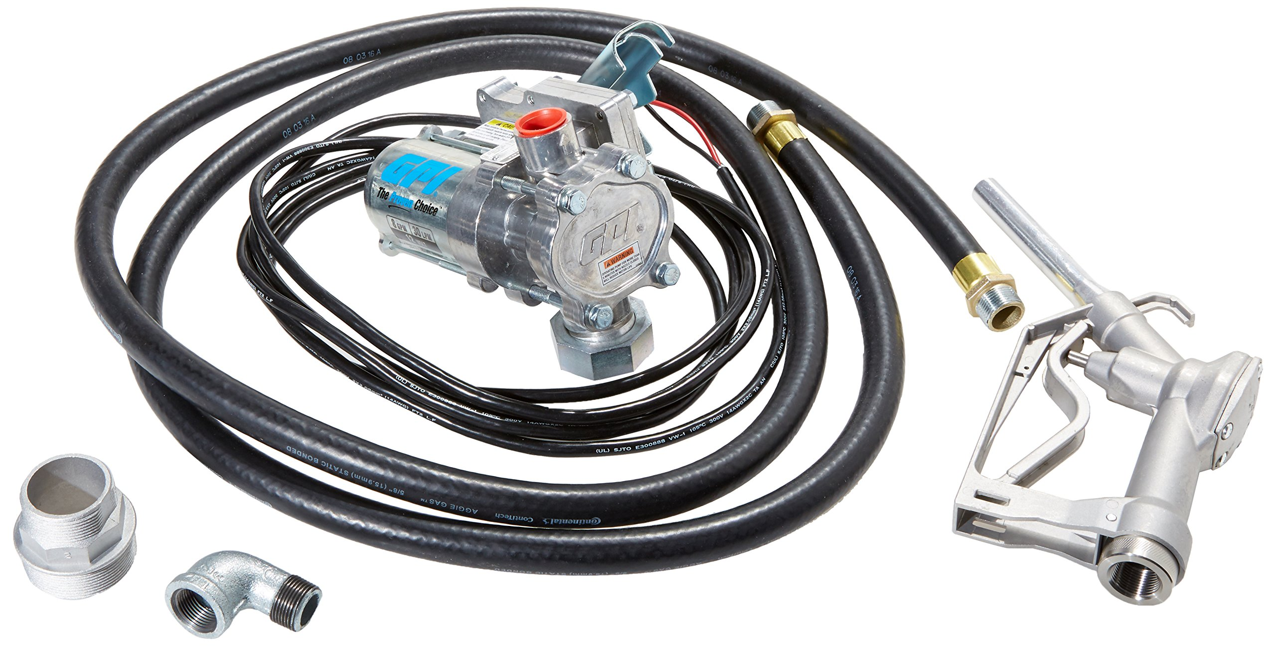 GPI 137100-05, EZ-8 Aluminum Fuel Transfer Pump with Spin Collar, 8 GPM, 12-VDC, 0.75-Inch Manual Nozzle, 10-Foot Hose, 15-Foot Power Cord, Suction Pipe Sold Separately