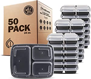 Freshware Meal Prep Containers [50 Pack] 3 Compartment Food Storage Containers with Lids, Bento Box | BPA Free | Stackable | Microwave/Dishwasher/Freezer Safe, Portion Control, 21 Day Fix (24 oz)