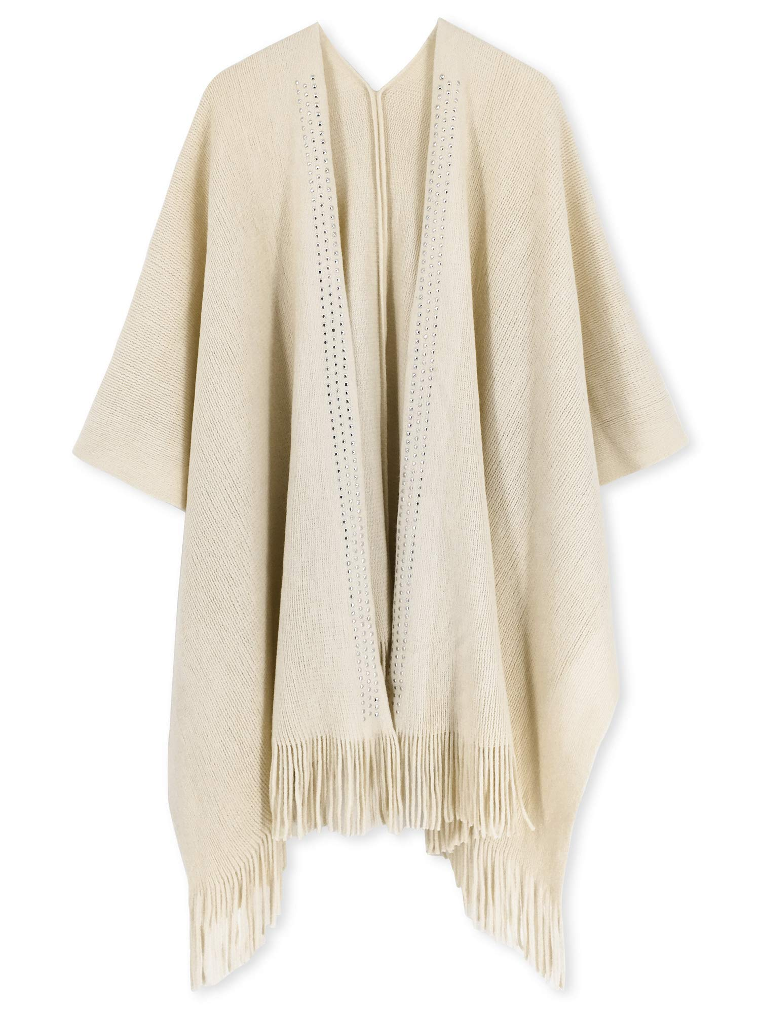 Women Poncho Shawl Cardigan Open Front Elegant Cape Wrap by Moss Rose (Image #1)