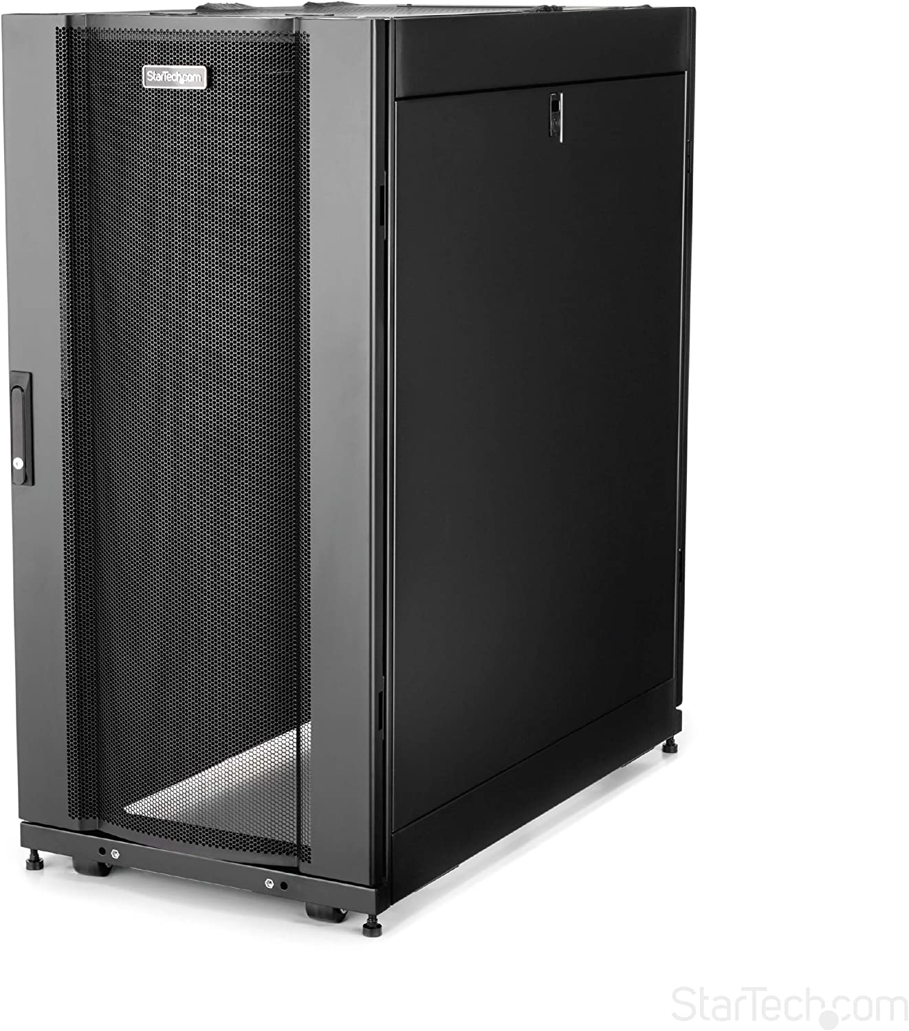"StarTech.com 25U Server Rack Cabinet - 4-Post Adjustable Depth (7"" to 35"") Network Equipment Rack Enclosure w/Casters/Cable Management (RK2537BKM)"