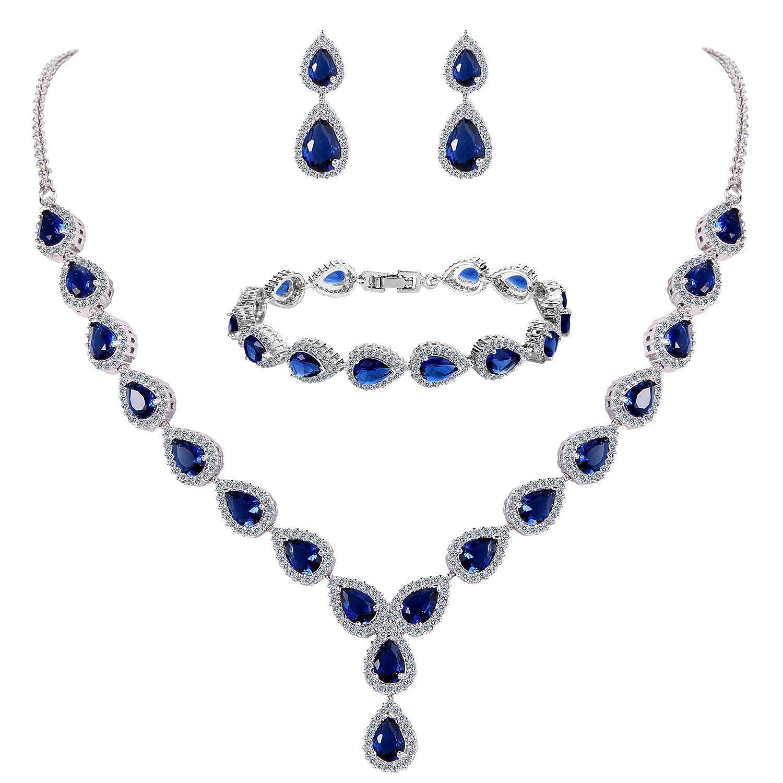 Clearine Femme Mariage Parure Goutte Cubic Zircon Infinity Figure 8 Y-Collier Tennis Bracelet Pendante Boucles d'oreile Série 12001497-6