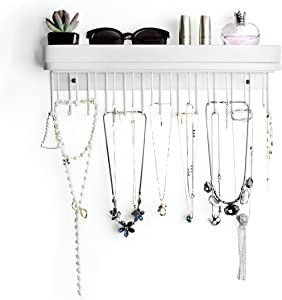 JackCubeDesign Hanging Jewelry Organizer Necklace Hanger Bracelet Holder Wall Mount Necklace Organizer with 25 Hooks(White/16.38 x 4.88 x 2.93 inches) - :MK124C