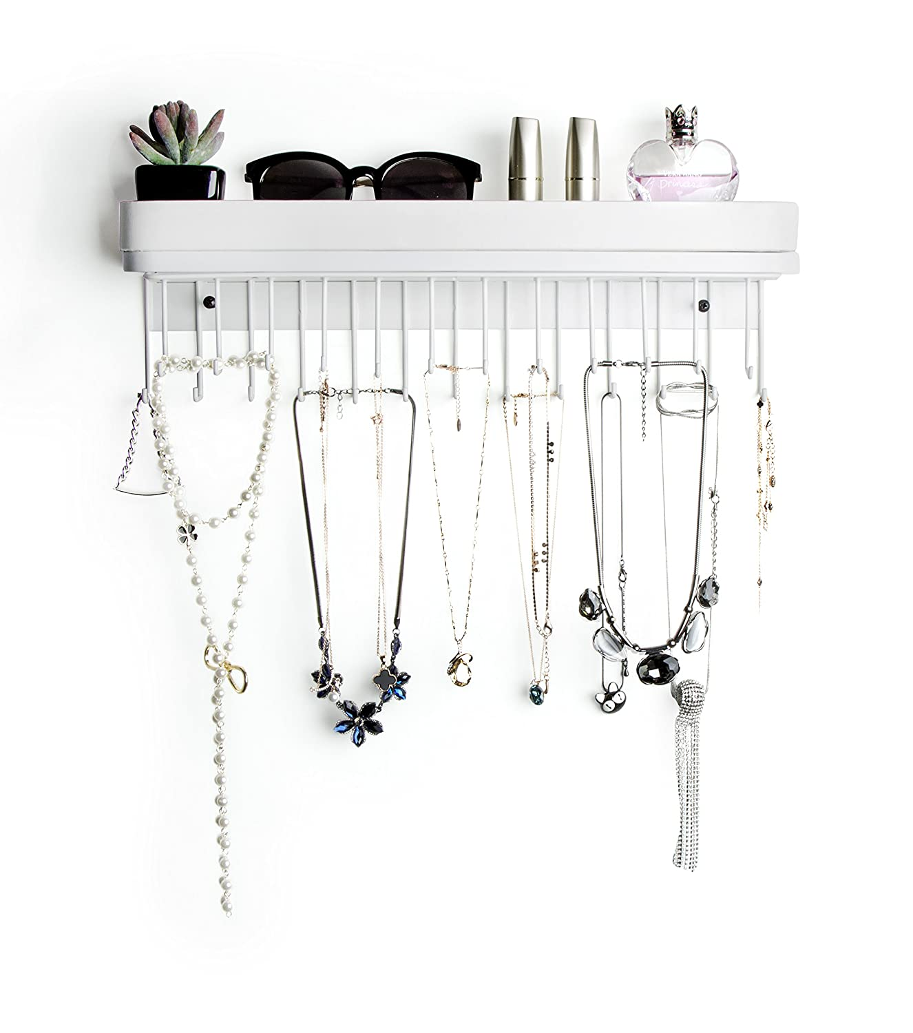 Hanging Jewelry Organizer Necklace Hanger Bracelet Holder Wall Mount Necklace Organizer with 25 Hooks(White/16.4 x 2.9 x 4.9 Inches)