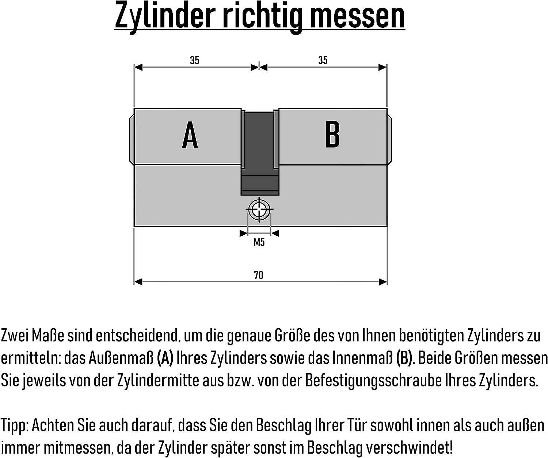 mit je 5 Schl/üssel 3 Generalschl/üssel Zentralschl/üssel 5x Zylinderschl/össer 70 mm 35x35