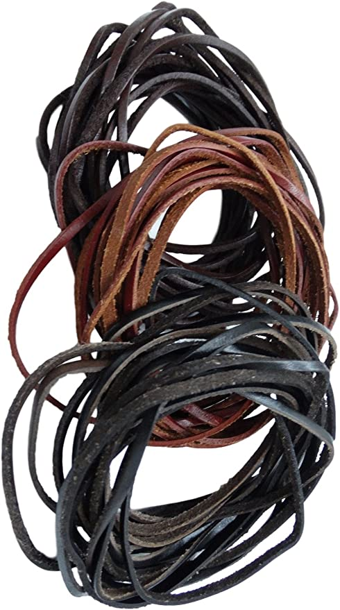 LolliBeads TM 3 mm Genuine Flat Leather Cord Braiding String for Jewelry Making Craft DIY Assorted Color Dark Brown 6+ Yards Light Brown and Black 6 Meters