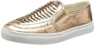 Gold Cracked Leather Look Slip-on, Womens Espadrilles La Strada