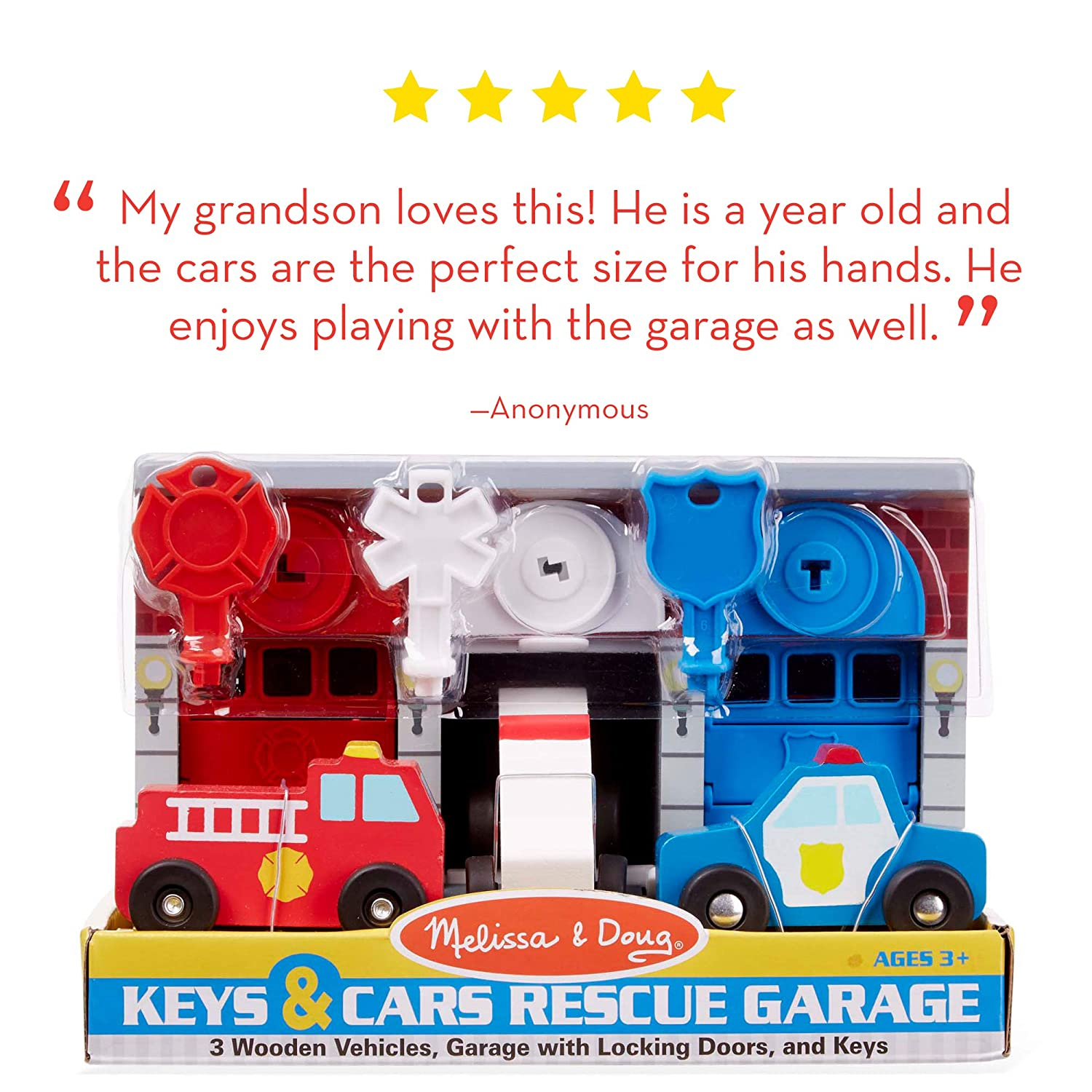 Melissa & Doug Keys & Cars Wooden Rescue Vehicle & Garage Toy (Emergency  Vehicles, Great for Motor Skill Development, Color-Coded Keys)