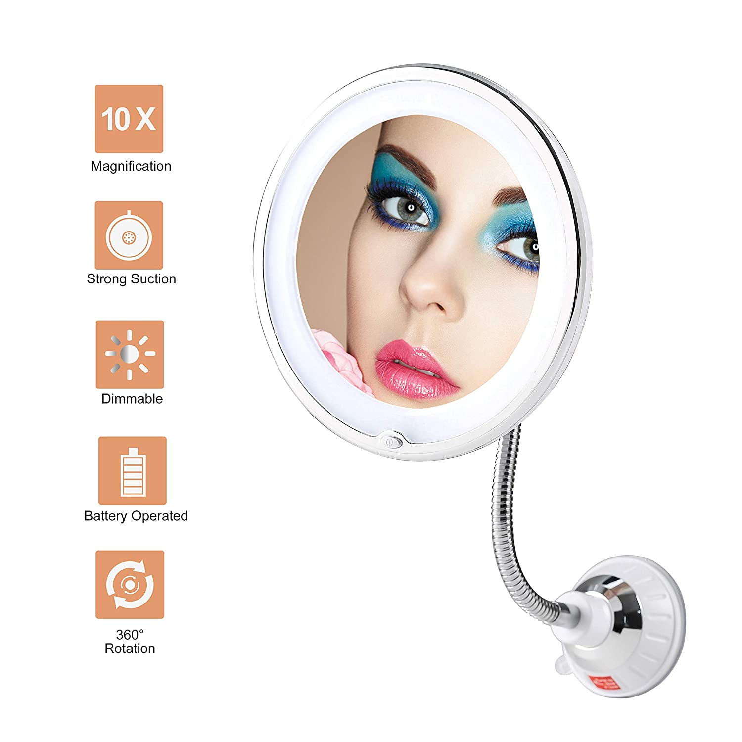 TOP4EVER Flexible Gooseneck LED Lighted 10X Magnifying Makeup Mirror Power Locking Suction Cup with Dimmable Light and 360 Degree Swivel, Portable Cordless Travel and Home Bathroom Vanity Mirror