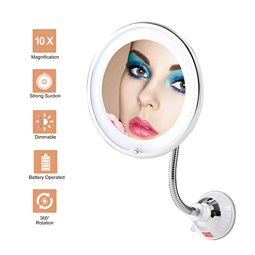 TOP4EVER Flexible Gooseneck LED Lighted 10X Magnifying Makeup Mirror Power Locking Suction Cup with Dimmable Light and 360 Degree Swivel, Portable Cordless and Home Bathroom Vanity Mirror