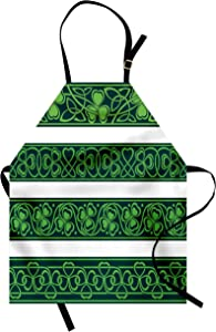 Ambesonne Irish Apron, Shamrock Borders Gaelic Nature Botany Theme Trefoils Swirls, Unisex Kitchen Bib with Adjustable Neck for Cooking Gardening, Adult Size, Forrest Green