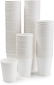 Premium Paper Disposable, Hot and Cold Cups, Coffee Cups 12 Ounce Capacity, Value Pack of 150 Cups, White