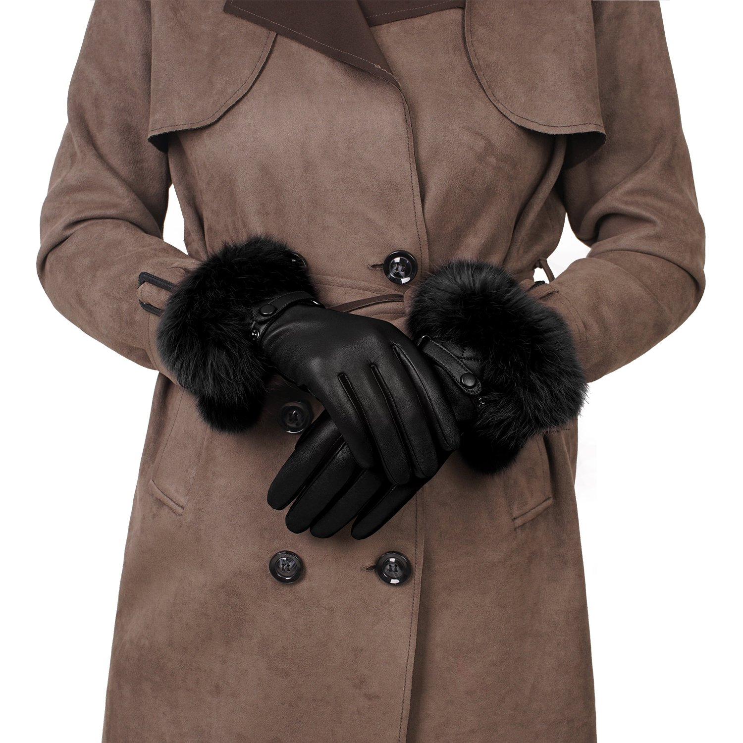 GSG Womens Luxury Italian Genuine Nappa Leather Gloves Fashion Fur Trim Full Palm Touchscreen Winter Warm Gloves Black 8.5 by GSG (Image #3)