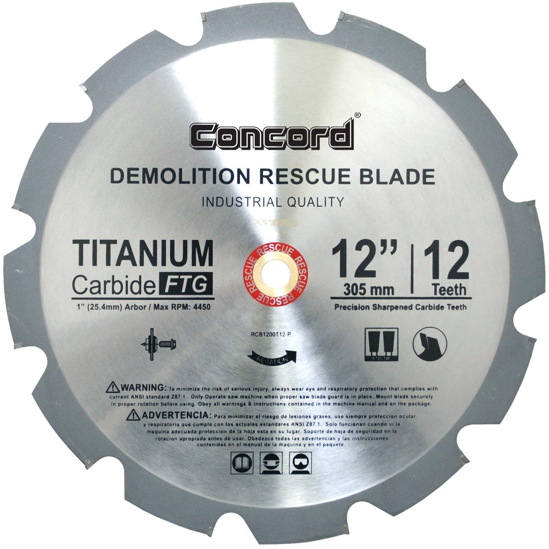 Disco Sierra CONCORD RCB1200T012HP 12T TCT Demolition Resc