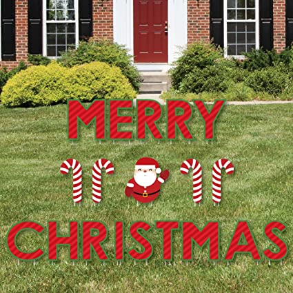 big dot of happiness merry christmas yard sign outdoor lawn decorations christmas yard signs - Christmas Lawn Decorations Amazon