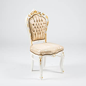 MAXIOCCASIONI Chaise Baroque Blanche Avec Details Dores Et Tissu Beije