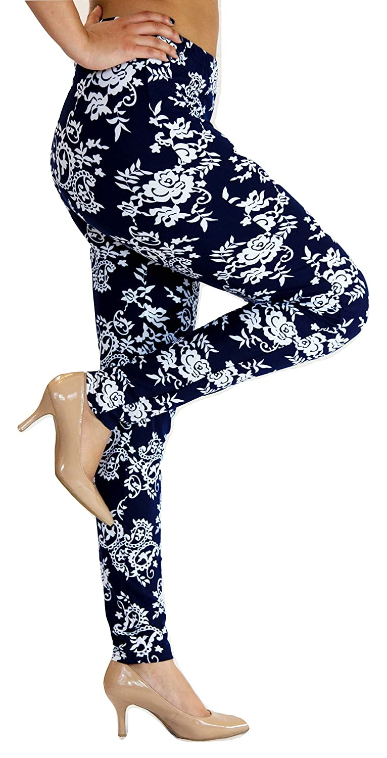 Toto Beau Women Plus Leggings 14-22 Navy Blue Floral Paisley Tights Stretchy Pants