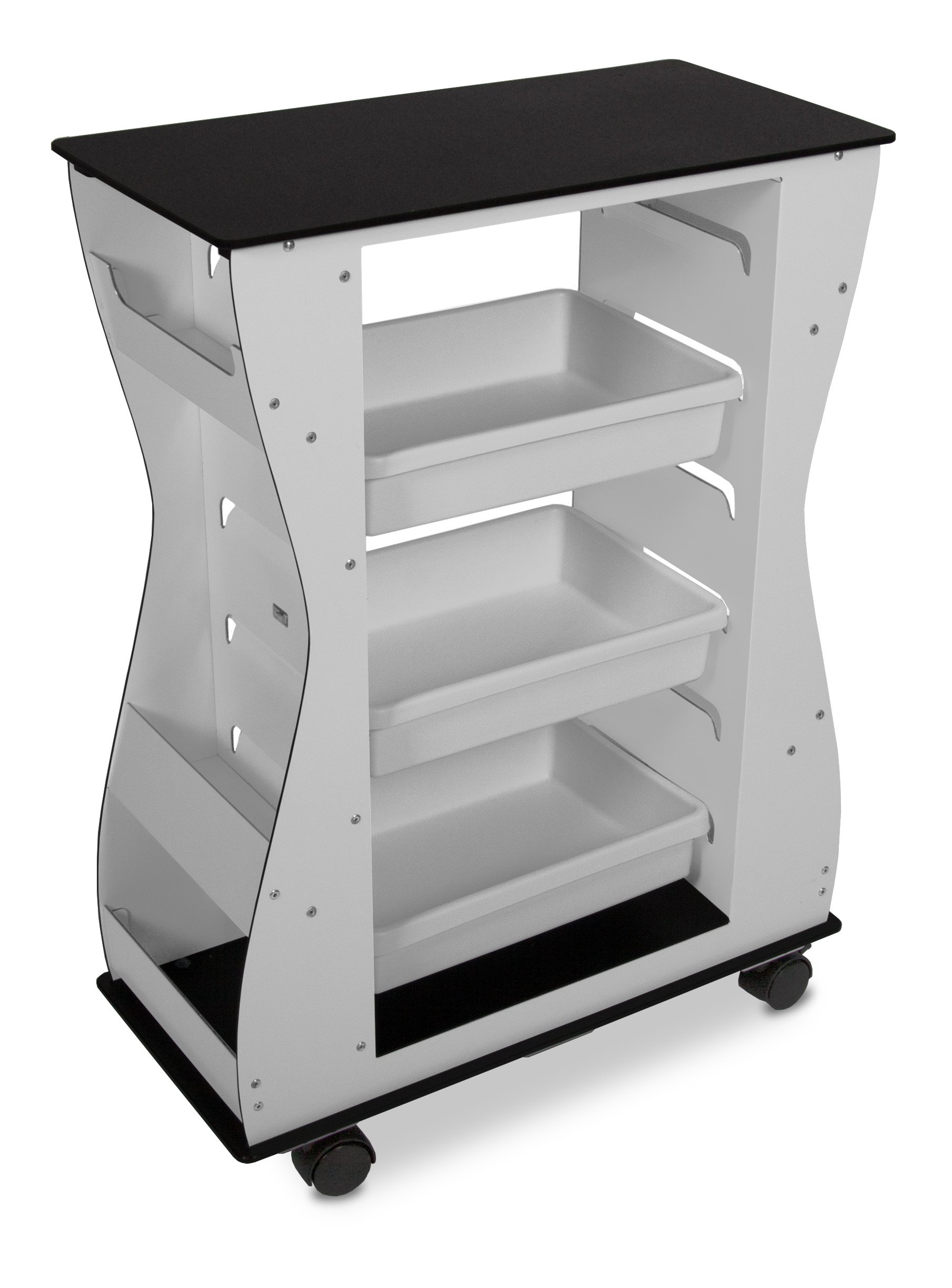 TrippNT 51472 Aluminum Polyethylene Composite Hourglass Light Duty Cart, 2-Sided, 24'' Width x 32'' Height x 11'' Depth, Black/White by TrippNT (Image #8)