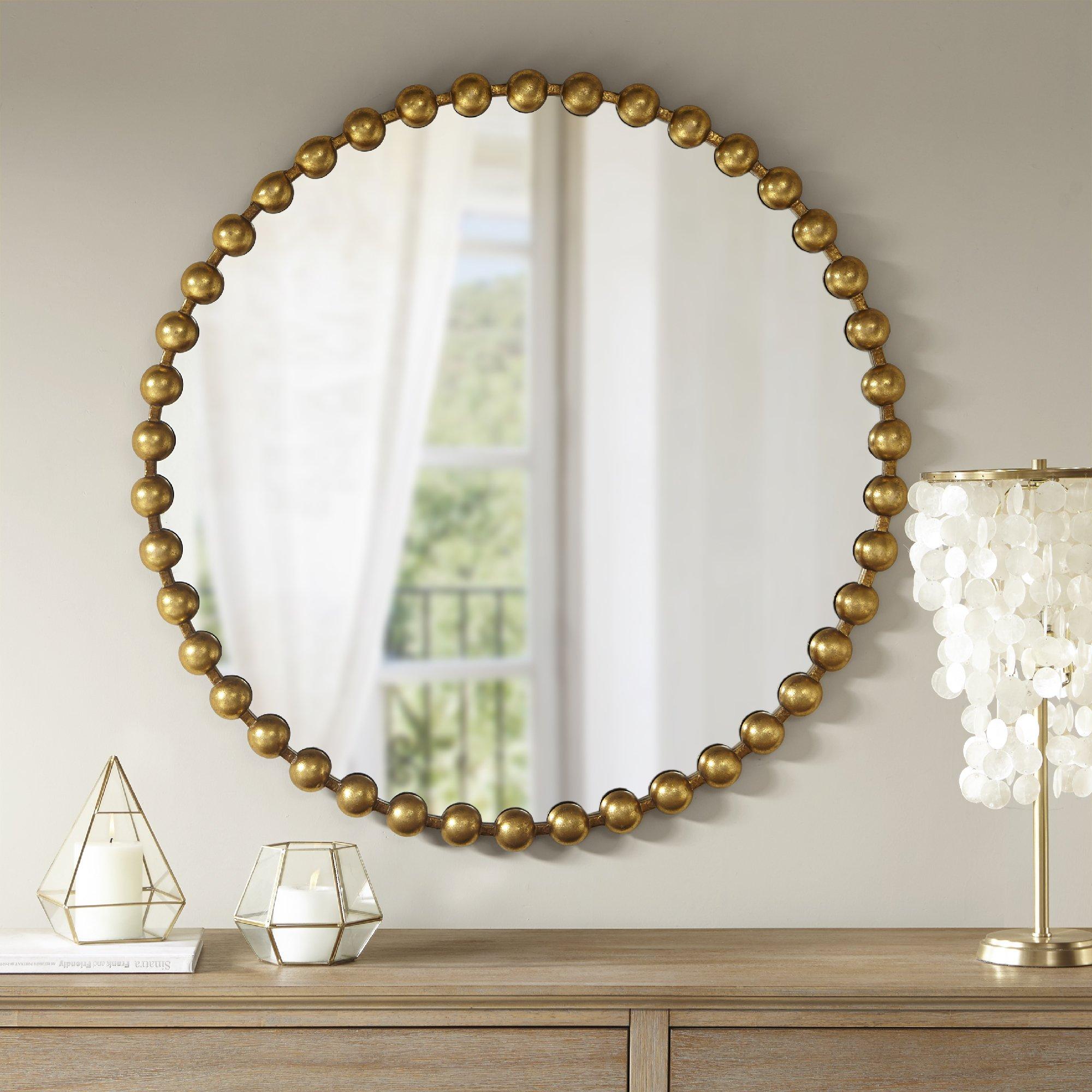 Madison Park Signature Marlowe Gold Metal Frame Round Decor Mirror